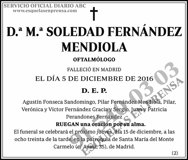 M.ª Soledad Fernández Mendiola